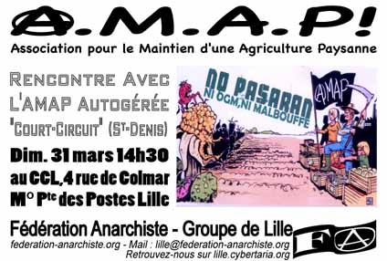 Dimanche 31 mars une rencontre avec l'AMAP Court-Circuit de Saint-Denis.
