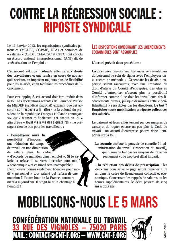 Tract manifestation 5 mars CNT