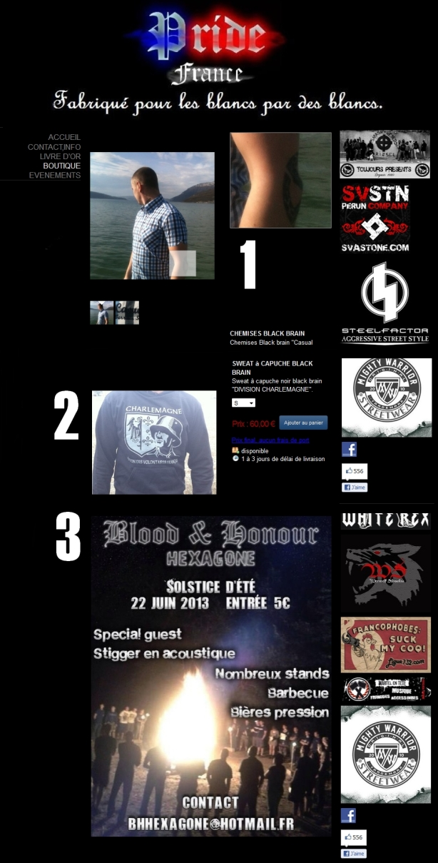 Sweat divison SS Charlemagne, promotion des concerts néo-nazis Blood and Honour, runes...