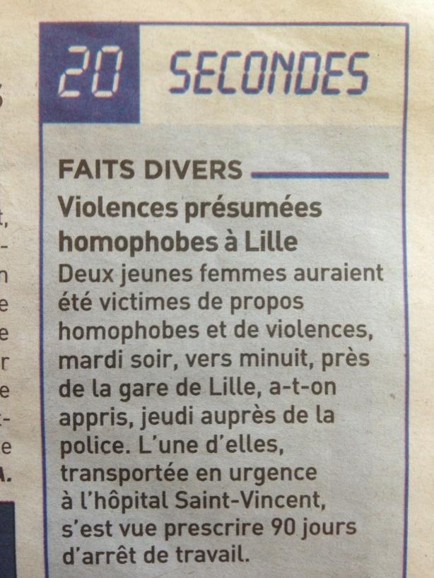 Agression homophobe à Lille
