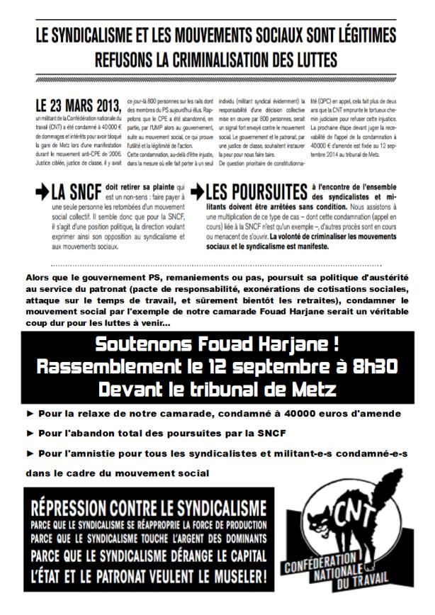 Rassemblement pour Fouad le 12 septembre