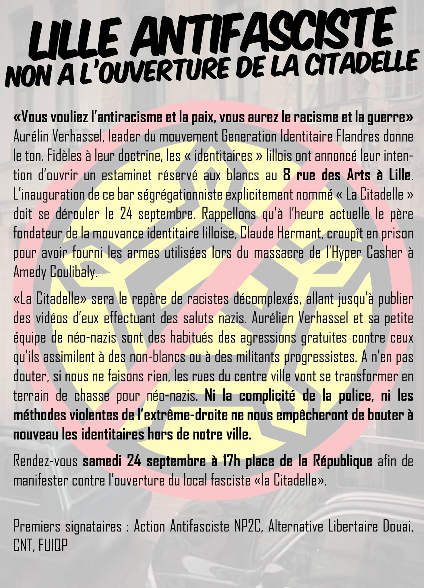 """Tract à propos de """"La Citadelle"""" à Lille"""